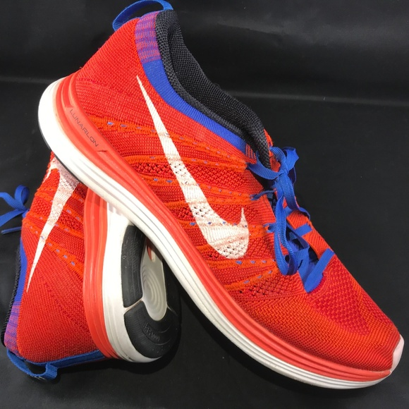 online retailer 6e119 069be Excellent NIKE Flyknit Lunar 1 Mens 10 Red White